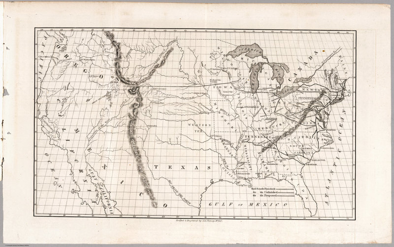 Map, without a Title, United States and Northern Mexico. Prepared by Mr. Whitney for Mr. Breese's Report to the Senate, U.S. 29 Congress.<br />