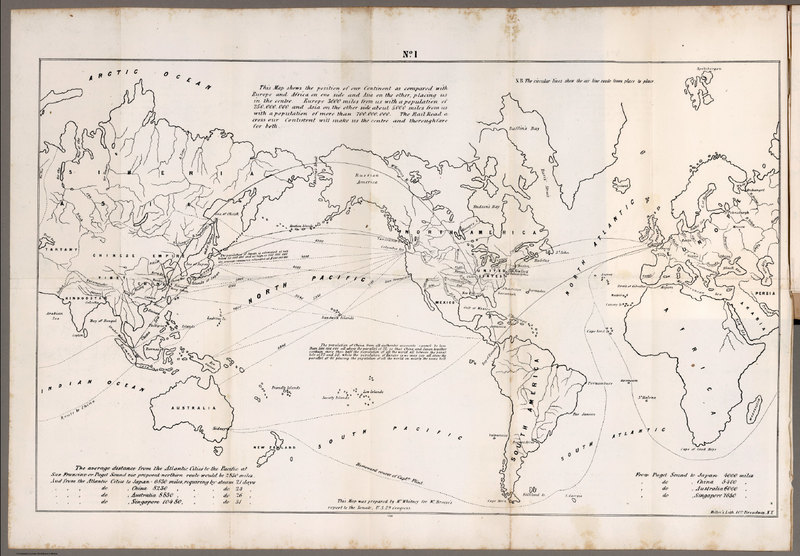 No. 1 World Map on a Mercator Projection. Prepared by Mr. Whitney for Mr. Breese's Report to the Senate, U.S. 29 Congress.<br />