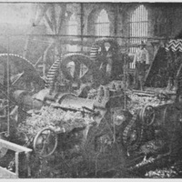 "32-Sugar mill machinery and worker on ""La Estrella"" plantation owned by Aurelio Pow San Chia's firm Pow Lung & Co. of Lima"