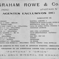 7- Graham-Rowe & Co. (Lima), exclusive agents for the import and sale of commodities manufactured by firms in Argentina, England, Scotland, including foodstuffs, spirits, and cash registers.